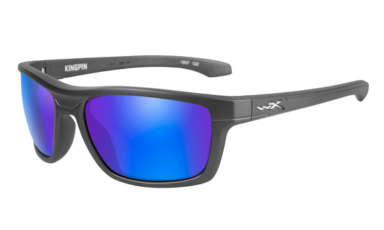 Wiley X Kingpin Sunglasses Polarized Blue Mirror Lens Matte Graphite Frame
