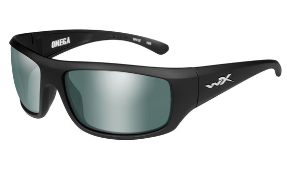 Wiley X Omega Sunglasses Polarized Green Platinum Flash Lens Matte Black Frame