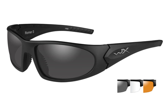 Wiley X Romer Ballistic Sunglasses Matte Black Frame 3 Lens Clear Smoke Grey Light Rust