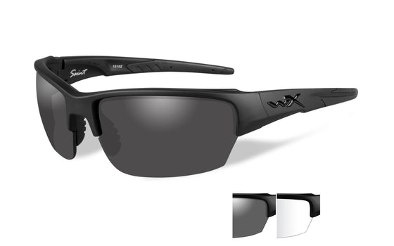 Wiley X Saint Ballistic Sunglasses 2 Lens Package Clear - Smoke Grey Matte Black Frame