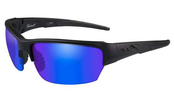 Wiley X Saint Ballistic Polarized Sunglasses Blue Mirror Lens Matte Black Frame