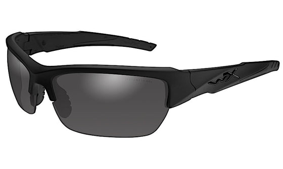 Wiley X Valor Ballistic Polarized Sunglasses - Smoke Grey Lens - Gloss Black Frame
