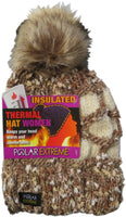 Polar Extreme Women's Insulated Thermal Slouchy Beanie Hats Cable Knit With Furry Pom Pom