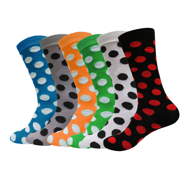 3 or 6 Pairs Women's Casual or Dress Polka Dot Crew Socks