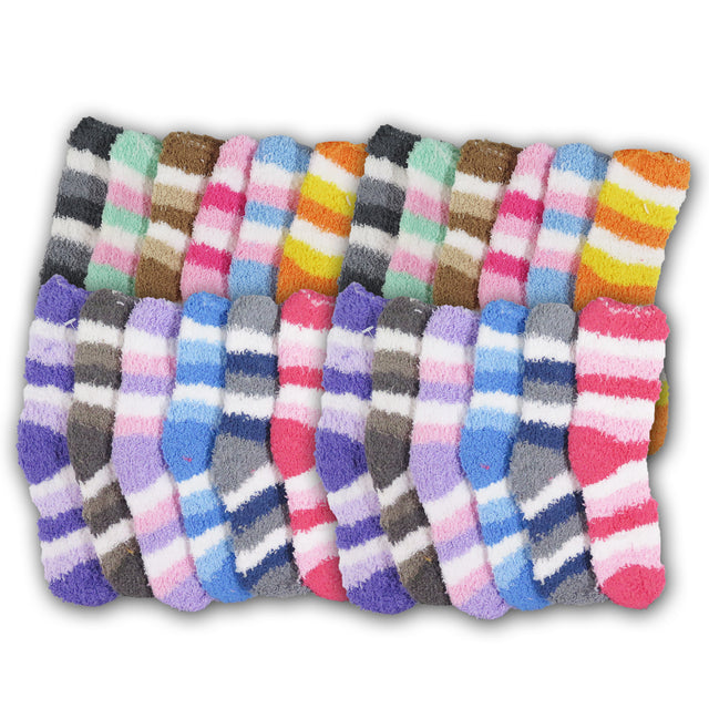 Kid's Super Soft Toasty Plush Warm Fuzzy Striped Cotton Winter Children Casual Socks