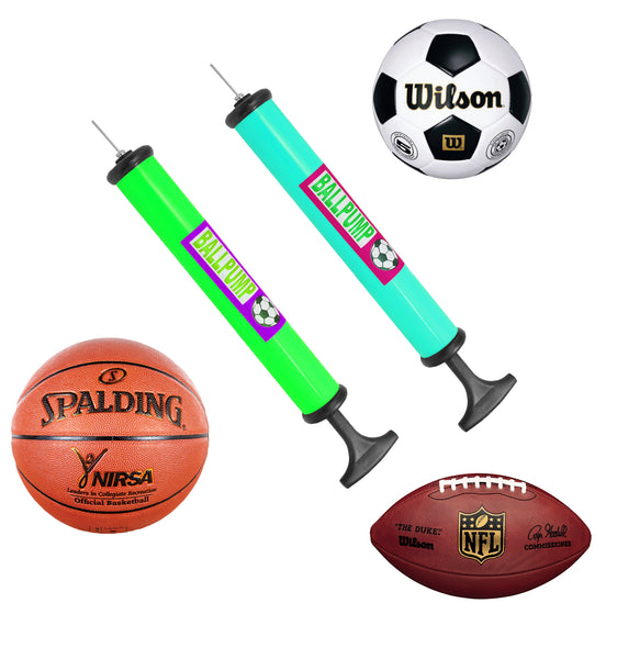 Portable Hand Sports Air Pump W/ Pin Needle Basketball Football Soccer Home Cycling