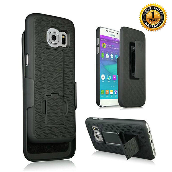 Encust Shell Holster Slim Black Case for Samsung Galaxy S7 & S8 Phone with Kick-Stand & Belt Clip Holster (AT&T, Verizon, T-Mobile, Sprint)