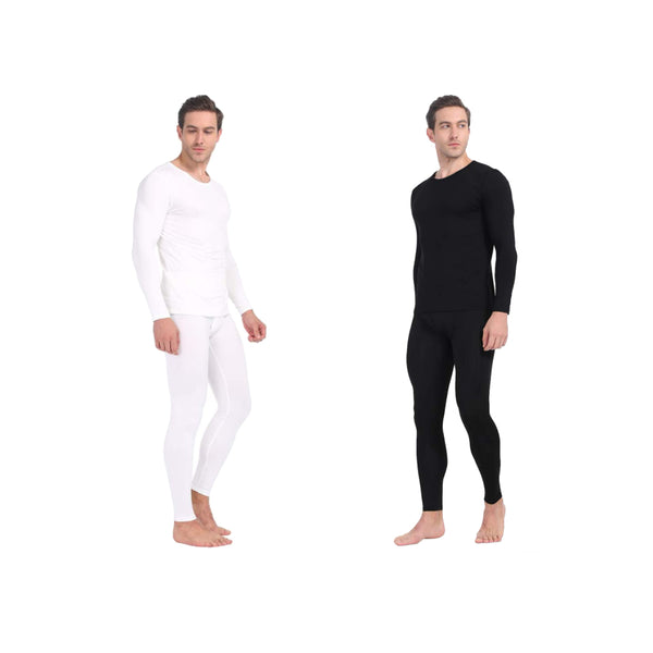 Magg Men's Thermal Base Layer Long Johns Cotton Blend Top And Bottom Set