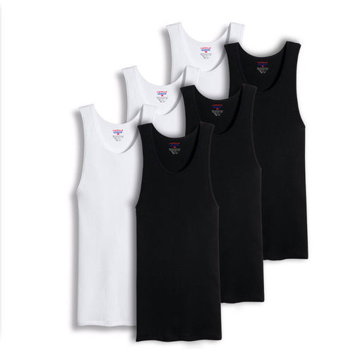 Value Packs of Men's Big And Tall Black & White Ribbed 100% Cotton Tank Top A Shirts Undershirt