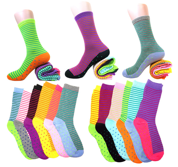 Fun & Colorful Two Tone Stripes & Dotes Assorted 12 Pack Crew Socks