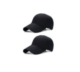 New Unisex 100% Washed Cotton Solid Black Adjustable Polo Style Baseball Cap