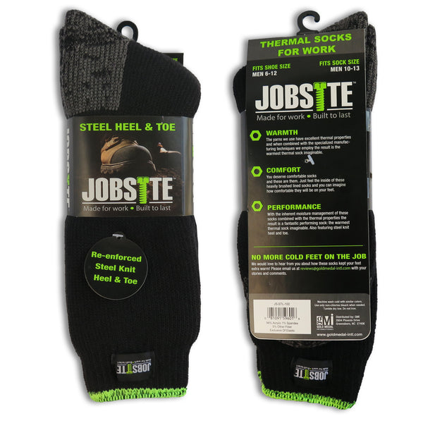 2 Pack Jobsite Mens Thermal Moisture Wicking Extra Heavy Full Cushion Boot Socks