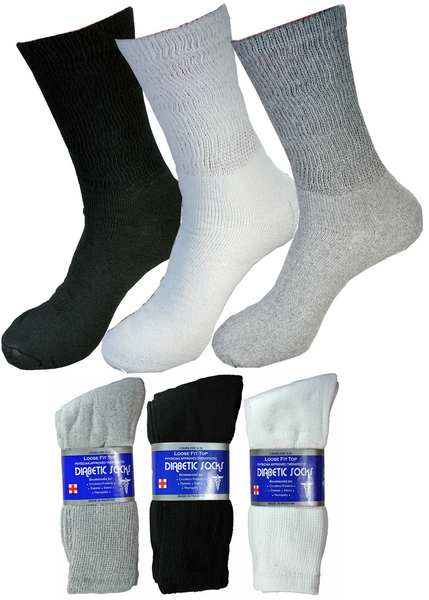 Diabetic Crew Circulatory Socks Health Men's Women's Cotton 3-12 Pairs 9-11 10-13 13-15