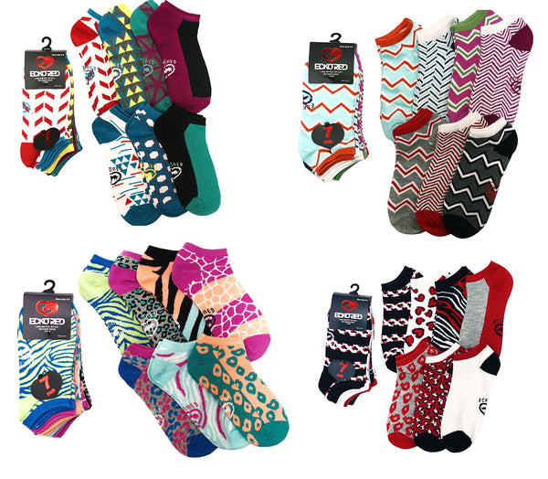 7 Pairs Ecko Red Women's Fun Funky Colorful Multi-Color Cotton Low Ankle Socks