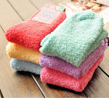 Women's Colorful Soft & Cozy Warm Microfiber Fuzzy Indoor or Winter Crew Socks