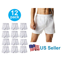 12 PACK Men's White Boxer Shorts W/ Comfortable Flex Waistband