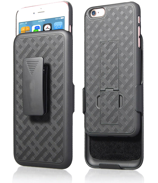 iPhone 6S Plus / 6 Plus Case, Encust Combo Shell & Holster Case Super Slim Shell Case w/ Built-in Kickstand + Swivel Belt Clip Holster (6S + / 6+)