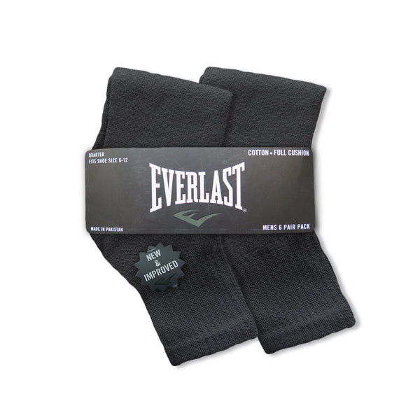 6 Pair Everlast Men's Quarter Length Socks | Socks Size 10-13, Shoe Size 6-12 | Black & White
