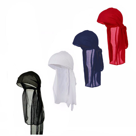 Men's Lifestyle Long Tie Soft Du-rag Skull Cap Durag in Multiple Colors and Packs -One Size