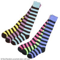 New Women's Assorted Color Stripes Knee High Cotton Socks Size 9-11