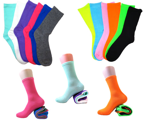 Women's Solid Multi Neon Colorful Cotton Crew Casual Socks