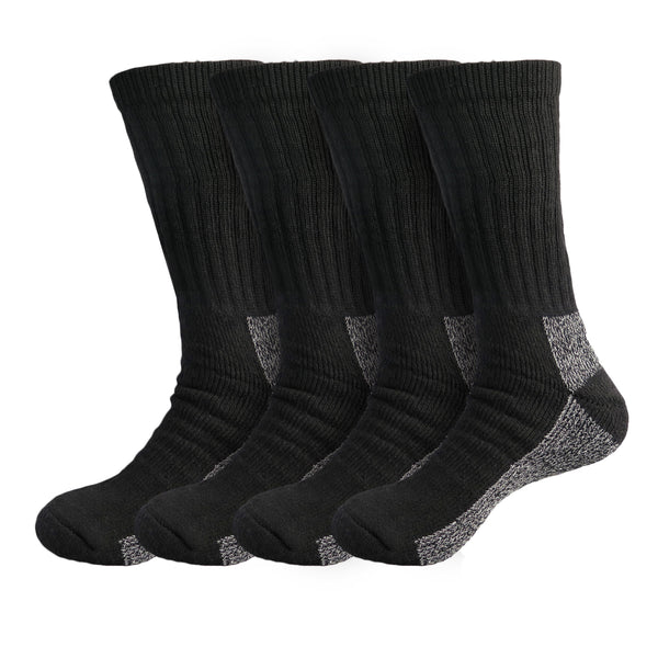 Men's 4 Pack Heavy Duty Steel-Toe Reinforced Cushion Full Crew Boot Socks