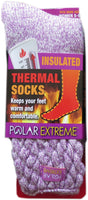 Polar Extreme Thermal Extra Heavy Acrylic Winter Marled Knit Top Socks Matching 2-Packs