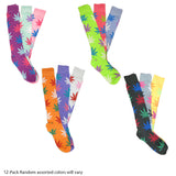 New Women's Assorted Color Weed Leaf Long Knee High Cotton Socks Size 9-11