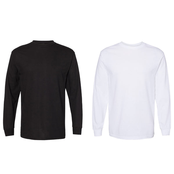 Magg Men's 100% Cotton Premium Heavy Weight Crew Neck Long Sleeve T-Shirt Big & Tall Sizes