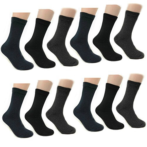 Unisex Thermal Crew Insulated Boot Winter Herringbone or Solid Value Pack Socks for Men's Women's (Solid 12 pack)