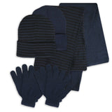 2 Pack Women's 3 Piece Set Hat Scarf Gloves for Men Women in Solid and Lines Color