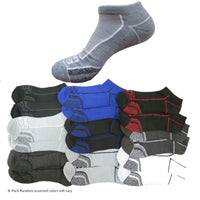 ECKO UNLTD Mens 6-Pack Performance Comfort No Show Arch Compression Cushion Athletic Socks
