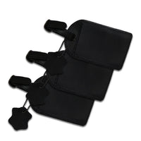 Genuine Leather Black Luggage Home Bag Tags w/ Privacy Flap Cover (Pack of 3)