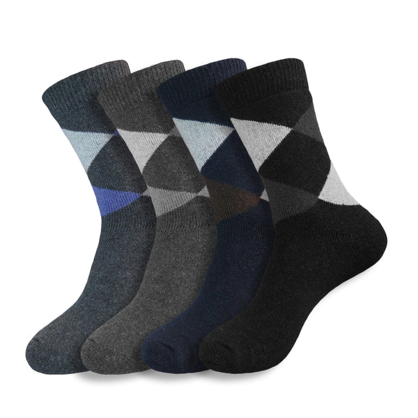 4 Pairs of Men's Soft Comfort Thick Casual Warm Wool Crew Socks