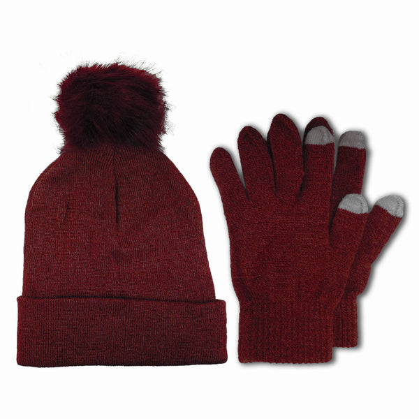 Women's Winter Knit Beanie Hat with Fur Pom Pom and Touch Screen Gloves Set