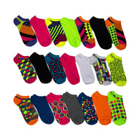 Everlast Women's Athletic No Show Socks, Funky Colorful, Funky Geometric Designs 21-Pack