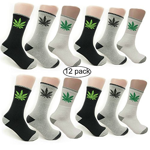 Magg Mens 3 Pairs Marijuana Weed Leaf Printed Soft Crew Cotton Comfortable Socks (Multicolored Crew 12-pack)