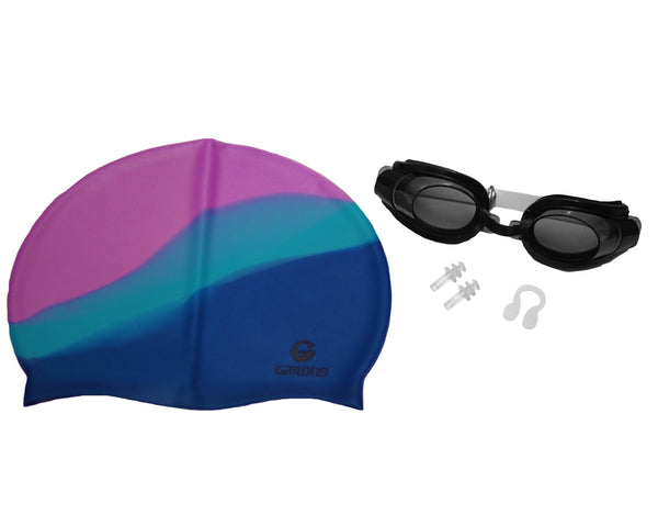 Unisex Silicone Swimming Cap for Adult and Children with Goggle Set, Tie Dye
