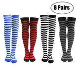 4 or 8 Pairs of Women's Striped Black White Blue Red Knee Cotton High Socks