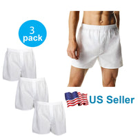 4-12 PACK Men's White Boxer Shorts W/ Comfortable Flex Waistband