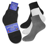 Men's 3 or 6 Pairs of Health Support Diabetic Ankle Circulatory Socks, Non-binding & Loose Fit