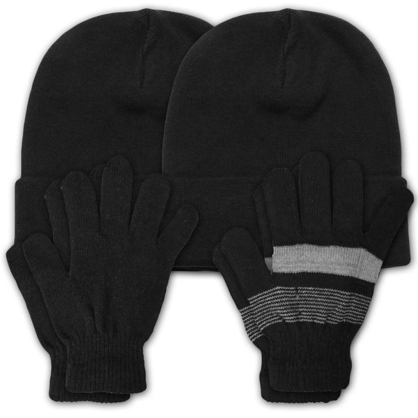 Women's 2 Piece Set Hat & Gloves for Men Women in Solid and Lines Color 2 Pack