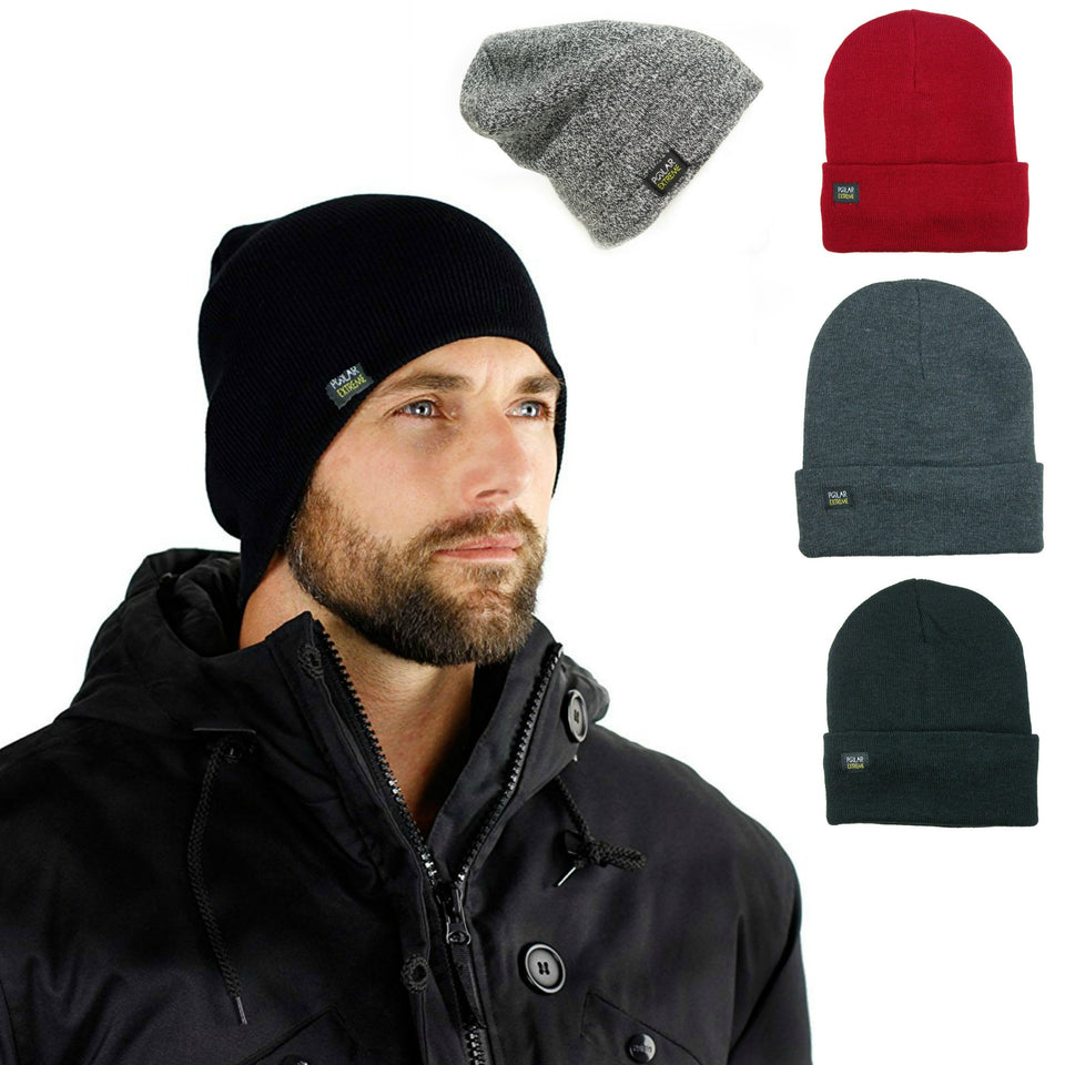 Men's Women's Unisex Cap Thermal Baggy Beanie Lifestyle Winter Fleece lined Hat Skull