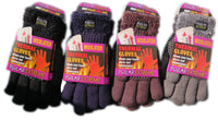 Polar Extreme Women's Furry Insulated Thermal Heavy Cable Knit Winter Gloves