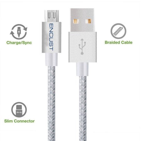 Encust 3-pack Nylon Braided Tangle-Free Micro USB Cables High Speed USB charger