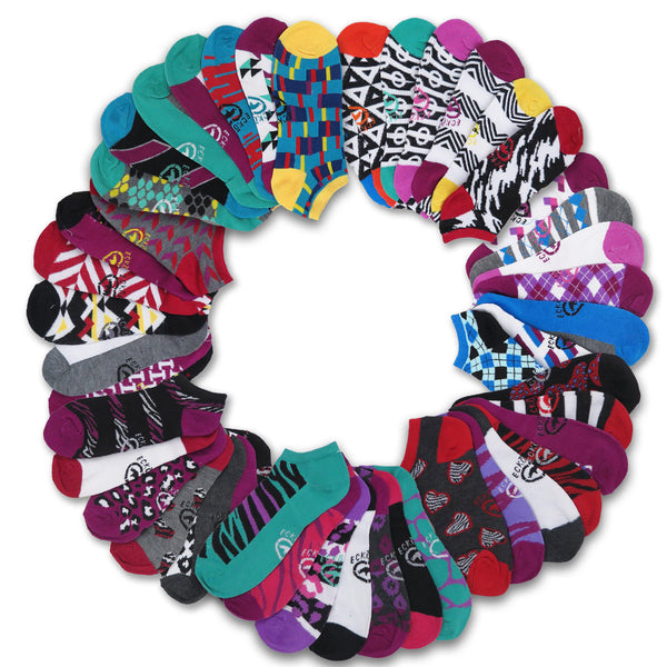 14 Pairs Ecko Red Women's Fun Print Low Cut Ankle Socks Assorted