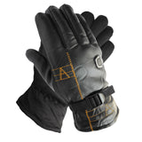 Men's Thermal Fleece Leather Gloves with Strap Winter Black