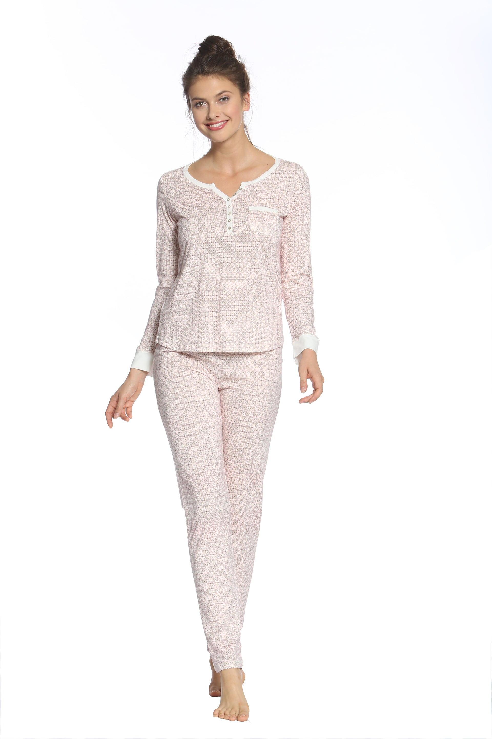 Adriana Long Sleeve Henley PJ Set
