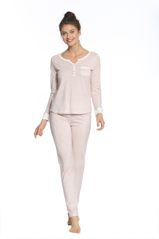 Adriana Long Sleeve Henley PJ Set - Sales Rack