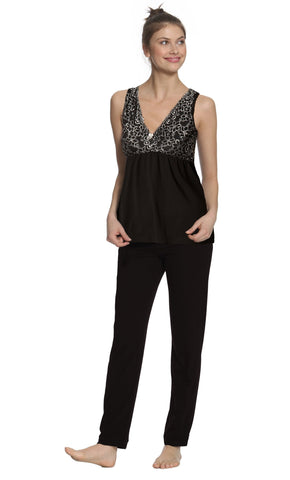 Leslie Wide Tank Camisole, Full Length Pant PJ Set